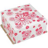 Коробка для торта ДхШхВ 210х210х100 мм до 1 кг квадратная КАРТОННАЯ С РИСУНКОМ 1/100
