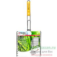 Решетка-гриль для рыбы 280х280 мм антипригарная 3-х местная с деревянной ручкой 1/24