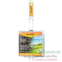 Решетка-гриль универсальная 230х230 мм хромированная с деревянной ручкой 1/16