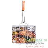 Решетка-гриль универсальная 340х250 мм хромированная с деревянной ручкой 1/1