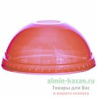 Крышка купольная D95 мм с отверстием для соломки PET КРАСНАЯ VGO 1/100/800