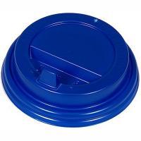 Крышка для стакана D80 мм с закрытым питейником PS СИНЯЯ 1/100/1000