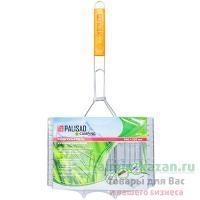 Решетка-гриль универсальная 340х220 мм хромированная с деревянной ручкой 1/24