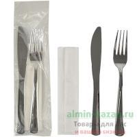 Комплект №3 вилка, нож, салфетка МЕТАЛЛИК PAPSTAR 1/50/250