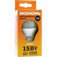 Лампа светодиодная E27 теплый свет 15W 220V ECO груша СТАРТ 1/10